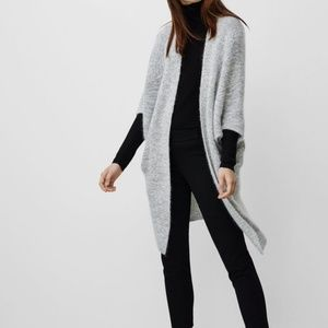Aritzia Babaton Grey Javier Open Cardigan Sweater